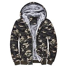 Dreamskull Men's Camouflage Coat Cotton Casual Hooded Hoodies Fleece Winter Jacket