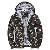 Dreamskull Men's Camouflage Coat Cotton Casual Hooded Hoodies Fleece Cashmere Winter Jacket (XXL)