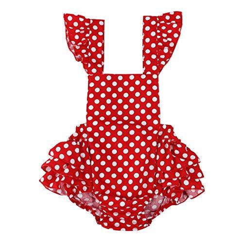 Wennikids Baby Girl's Summer Dress Clothing Ruffle Baby Romper Small Red White Dot Design 01