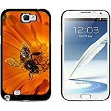 Graphics and More Bee on Orange Flower - Snap On Hard Protective Case for Samsung Galaxy Note II 2 - Black