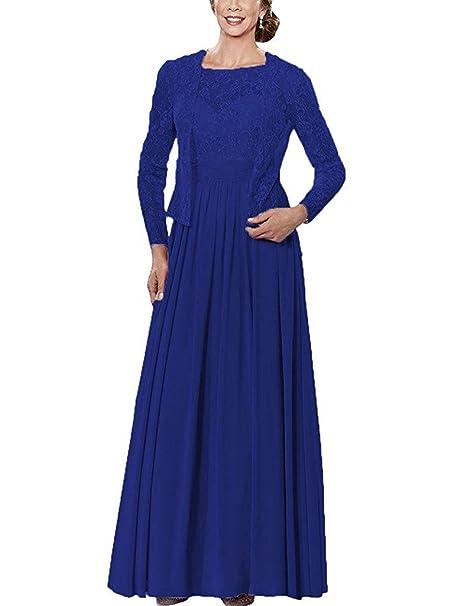 HUINI Larga de Gasa Madre de la Novia Vestidos Formales de Los Vestidos de Fiesta con
