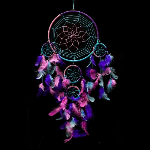 Caught Dreams Dream Catcher ~ Handmade Traditional Aqua Blue, Pink  Purple 8.5 Diameter  24 Long!