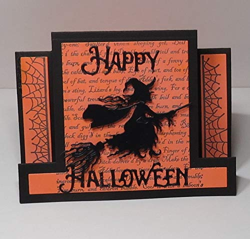 Handmade 3D Light-Medium Orange & Black Witch on Broom Happy Halloween Centre Stepper Blank Greeting Card with Witch's Chant Background, Cobweb Borders, Handmade Black Envelobox - 4 1/4 x 5 1/2 inches