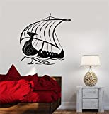 mannar Vinyl Peel and Stick Mural Removable Decals Viking dragon head Ship Sailors Sea Waves