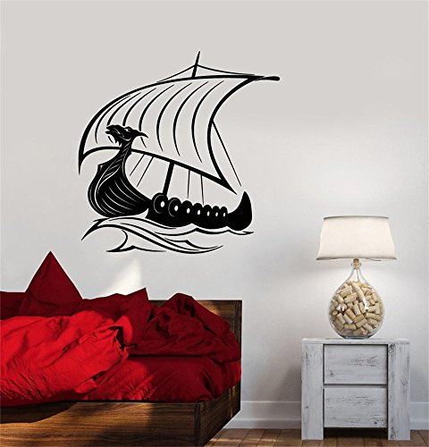 mannar Vinyl Peel and Stick Mural Removable Decals Viking dragon head Ship Sailors Sea Waves by mannar