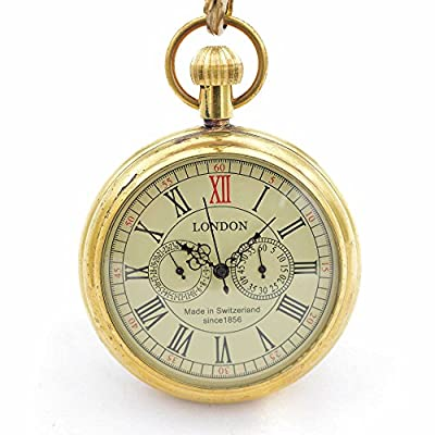 timeconcept Without Open Case Brass 5 hands Roman Number Hand Wind Mens Mechanical Pocket Watch Nice Gift