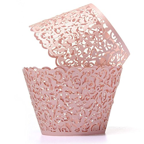 Coolrunner 48pcs Cupcake Wrappers, Cupcake Holders, Flower Vine Filigree Cutout Lace Cupcake Wrapper Wraps Liner for Wedding Party Cake (Cup Of Gold Flower)