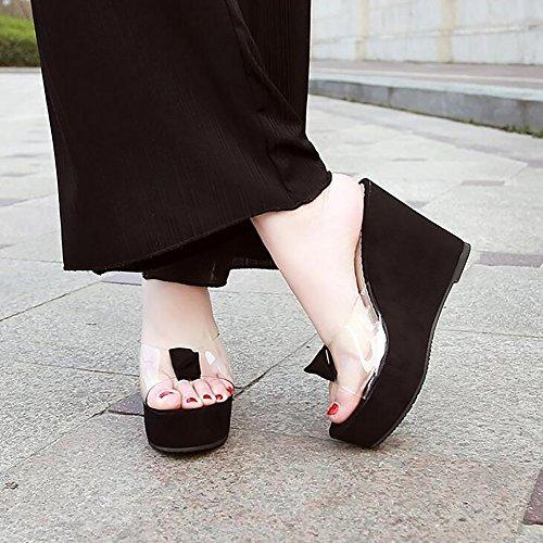 Infradito Cunei Estate Pink Donna Spesso Tacchi Trasparente Sandali Black Pantofola 36 Cristallo Fondo Alti wUFBqgvU
