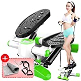 Steppers,Home Fitness Equipment,Silent Movement Stepper - with Hydraulic Resistance, Large Non-Slip Foot Plates and LCD Monitor,Green (Color : Black)