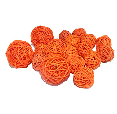 Amber Ice Glass Bowl - Qingbei Rina Wicker Rattan Balls Bag, Garden, Wedding, Party Decorative Crafts, House Ornaments, Vase Fillers Decorative Orbs Natural Spheres Christmas Tree. Set of 18. (Orange)