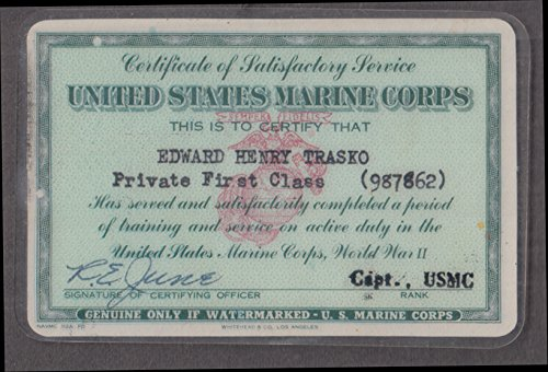 United States Marine Corps Certificate of Satisfactory Service ID card 1946 by The Jumping Frog