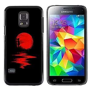 Caucho caso de Shell duro de la cubierta de accesorios de protección BY RAYDREAMMM - Samsung Galaxy S5 Mini, SM-G800, NOT S5 REGULAR! - Moon Halloween Dark Reflection