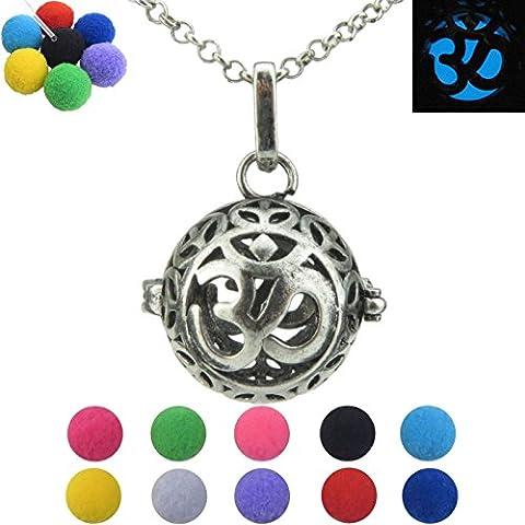Vintage Silver Locket Necklace, Celtic Aum Om Ohm Sanskrit Symbol Yoga Pendant