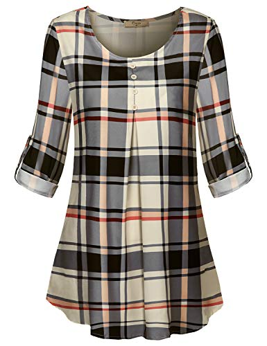 Cestyle Checked Shirts for Women,Long Sleeve Round Neck Buttons Decor Aline Swing Chiffon Blouses Juniors Cute and Flattering Tunics Tops Daily Wear Beige -