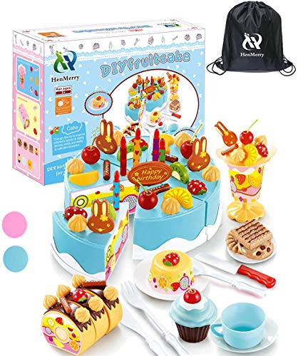 (HenMerry DIY Cutting Birthday Party Cake Pretend Play Kitchen Food Toys Set Girls Gift for Children 75PCS (Blue))