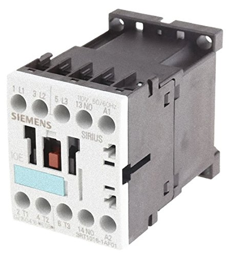 Siemens 3RT1016-1AF01 Contactor, rated at 9 A, 4 kW with a coil voltage of 110V with 1 NO auxiliary contact. Switching Voltage 400 V AC