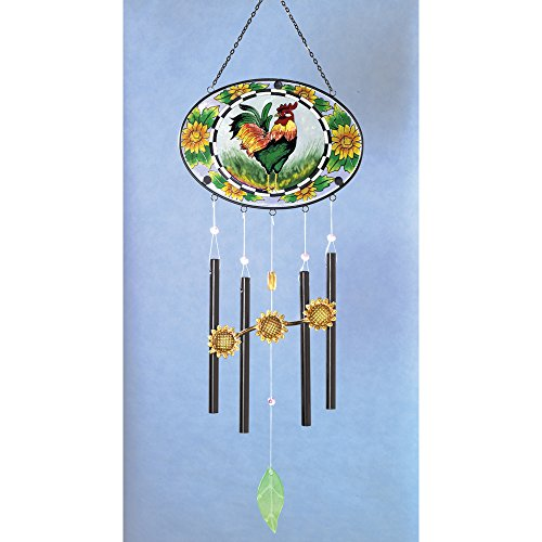 Hang Stained Glass Window (Bits and Pieces - Home and Garden Décor - Artistic Stained Glass Rooster Suncatcher and Wind Chimes - Hand Painted Rooster Creates a Stunning Window Display With a Side of Music)