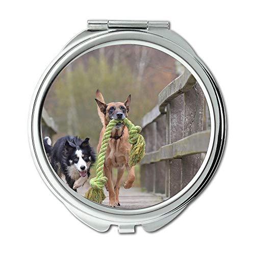 - Yanteng Mirror,Makeup Mirror,Malinois and Border Collie Belgian Shepherd Dog,Pocket Mirror,Portable Mirror