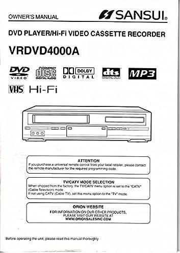 sansui vrdvd4000a dvd player cassette recorder owner s manual not rh amazon com sansui crt tv service manual sansui crt tv service manual