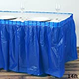 Efavormart 5 Pcs 14ft Spotless Elegance Disposable Plastic Table Skirt - Royal Blue
