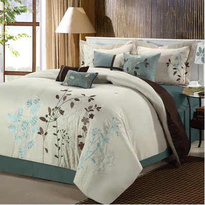 en 8 Piece Embroidered Comforter Set, Queen, Beige ()