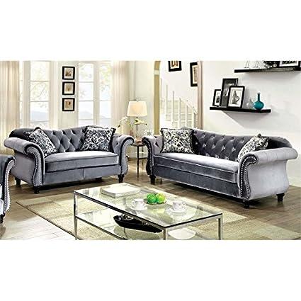 Fine Amazon Com Furniture Of America Sharon 2 Piece Tufted Sofa Creativecarmelina Interior Chair Design Creativecarmelinacom