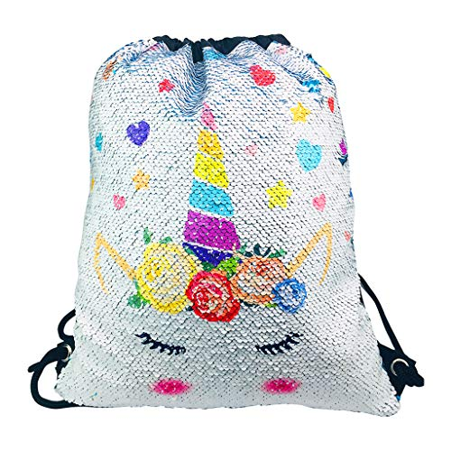9e1eef2aab7f Kicpot Unicorn Sequin Backpack, Drawstring Bags Reversible Flip Bling for  School Gym,Dance,Yoga and Hiking