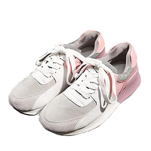 VECJUNIA Ladies Lace-Up Trainers Walking Shoes Running Shoes Pink oR6QhEg