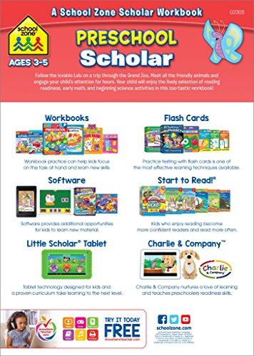 School Zone – Preschool Scholar Workbook – 64 Pages, Ages 3 to 5, Preschool to Kindergarten, Reading Readiness, Early…