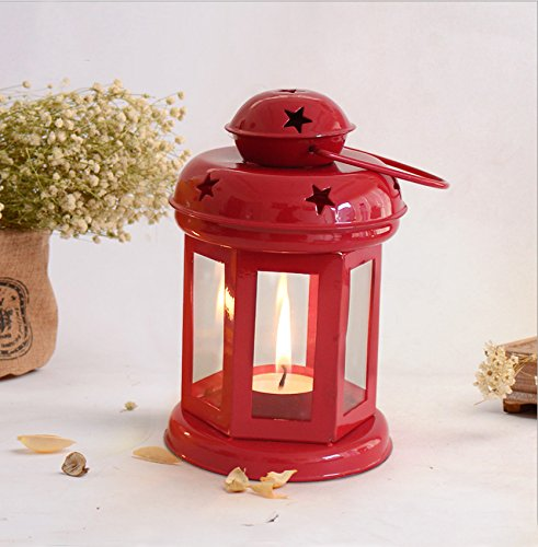 TiedRibbons Home Decor hangings Lantern Antique with Tealight Candle(Red)