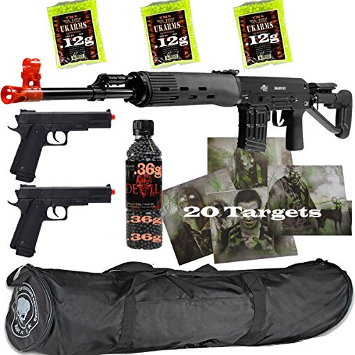 3 GUNS ALL METAL SVD AIRSOFT SNIPER RIFLE 6MM & PISTOLS & BAG & 6000 BBS +MORE - Zombie Airsoft Guns