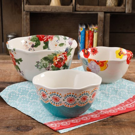 The Pioneer Woman Flea Market 3-Piece Scalloped Serving Bowl Set (1)