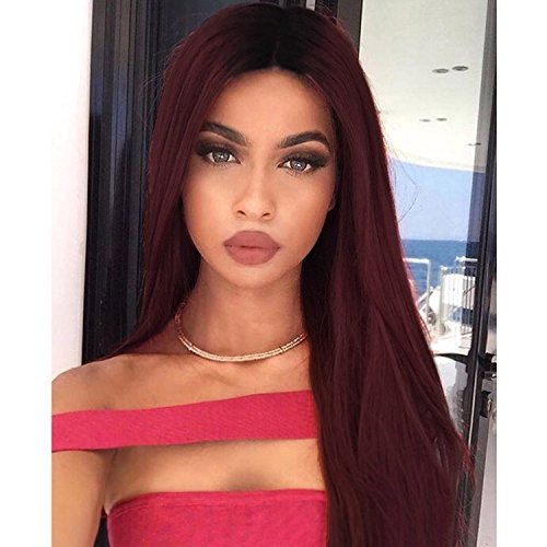 ForQueens Ombre Long Straight Red Wig For Women Two Tone Dark Root Middle Part Synthetic Burgundy Wig For Black Women Heat Resistant - Tones Cold Skin Warm And