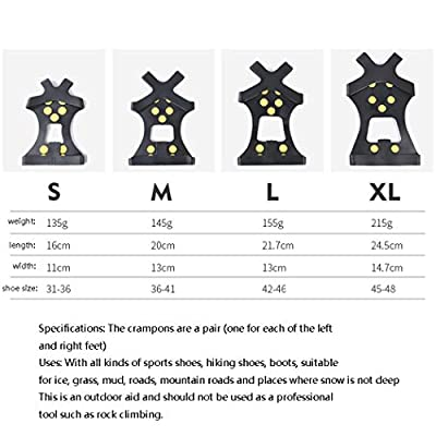 SHZJZ-OD Anti-Skid Shoe Cover_Outdoor 10 Tooth Crampons Simple Ten Nail Shoe Cover City Snow Mud Road Anti-Skid Shoe Cover Anti-Fall Ten Teeth,31~36(S): Sports & Outdoors