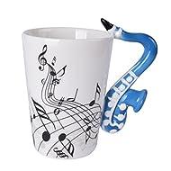 Saxophone Music Unique Art Musical Notes Holds Tea Coffee Milk Ceramic Mug Cup 300ml Best Gift,Black