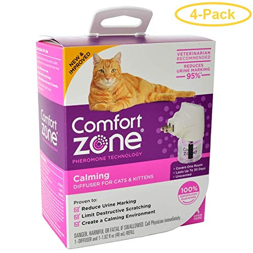 Comfort Zone Pheromone Cat Calming Diffuser 1 Count - (1 Diffuser & 1 Refill) - Pack of 4