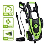 PowRyte Elite 3000 PSI 1.80 GPM Electric Pressure Washer, Electric Power Washer with Stepless Angle Adjustment Spray Nozzle, Extra Turbo Nozzle