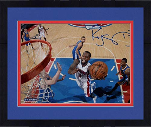 (Framed Rodney Stuckey Detroit Pistons at the Basket in White Jersey Signed 8x10 Photo (Getty #157707338) - Steiner Sports Certified)