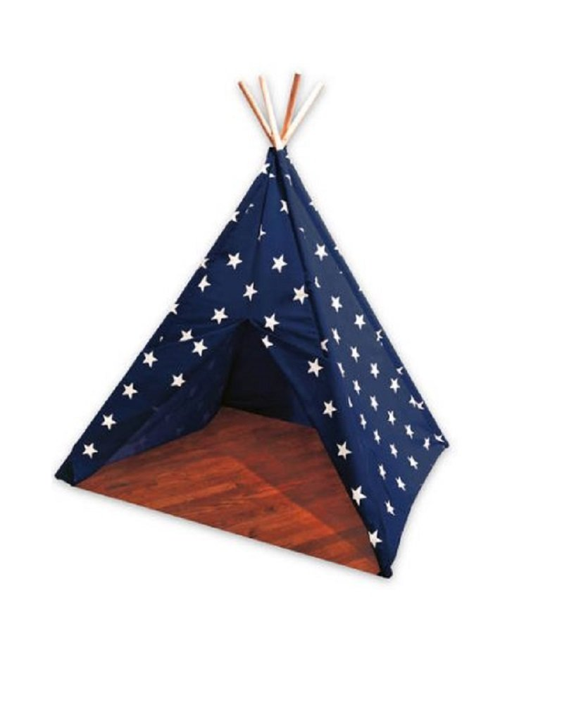 Children's Canvas Fabric Teepee Navy Blue Fabric with White Stars