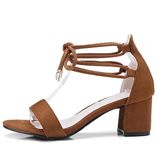 TAOFFEN Women Fashion Block Heel Sandal Shoes Brown-1 cVwZc0