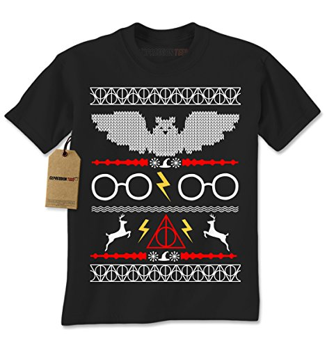 Mens Harry Potter Fawkes Gryffindor Ugly Christmas Sweater T-Shirt Medium Black (Harry Potter Themed Costumes)