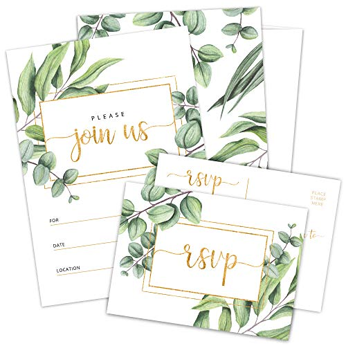 Set of 25 Fill-in Invitations with Envelopes and RSVP Cards – Greenery Gold Invites for All Occasions – Perfect for: Wedding, Bridal Shower, Engagement, Birthday Party, Baby Shower (25 Pack)