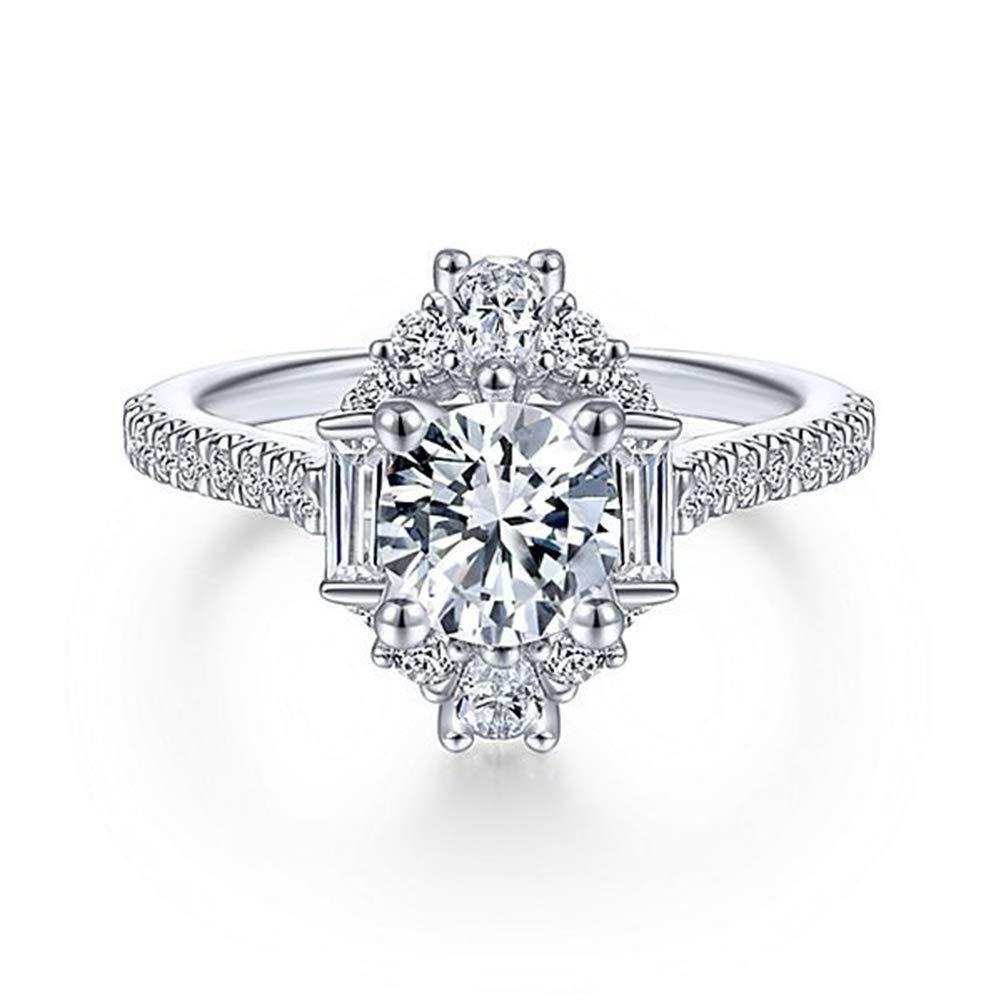 Slendima Exquisite Silver Plated Rhinestone Inlaid Ring Fashion Bride Wedding Engagement Jewelry White US 8