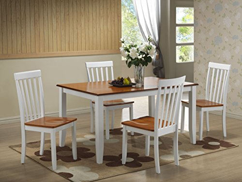 - Boraam 22033 Bloomington 5-Piece Dining Set, White/Honey Oak
