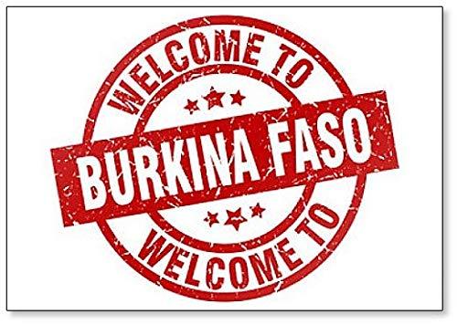Welcome to Burkina Faso Red Stamp Illustration Fridge Magnet