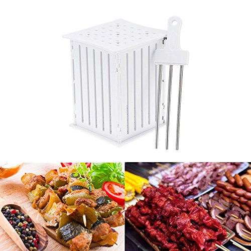 Bbq Box (FLY5D 36 Holes BBQ Kabob Skewer Maker with Stainless Steel Skewers Kebab Maker Box Beef Meat Tools Barbecue's Good Helper)