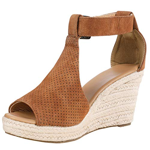- Syktkmx Womens Platform Wedge Sandals Suede Peep-Toe Strap Buckle Mid Heel Espadrille Shoes D-Brown