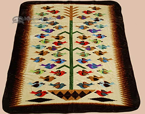 Style Bedspread Ranch (Mission Del Rey Southwestern Plush Blanket Collection -Silk Touch Fleece in Western & Native Styles. (Tree of Life, Queen))