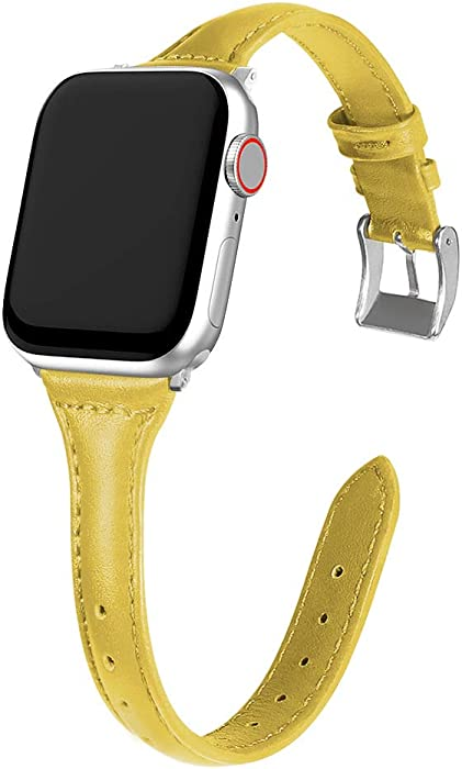 MARGE PLUS Compatible Apple Watch Band 38mm 40mm Women, Slim Genuine Leather Watch Strap Replacement for iWatch Series 5 4 3 2 1, (Yellow Band paired with Sliver Adapter)