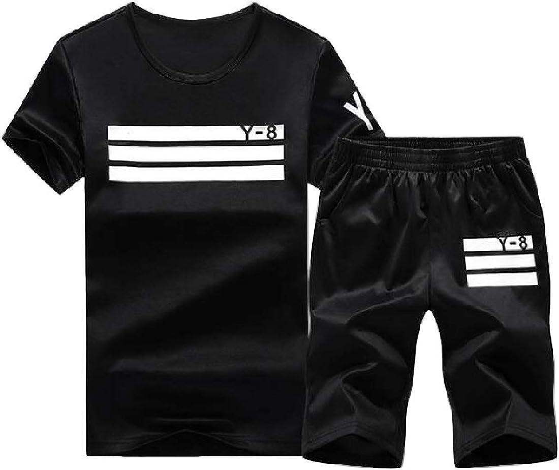 pujingge Mens Short Sleeves O Neck Shirt Top Casual Short Pant Suit
